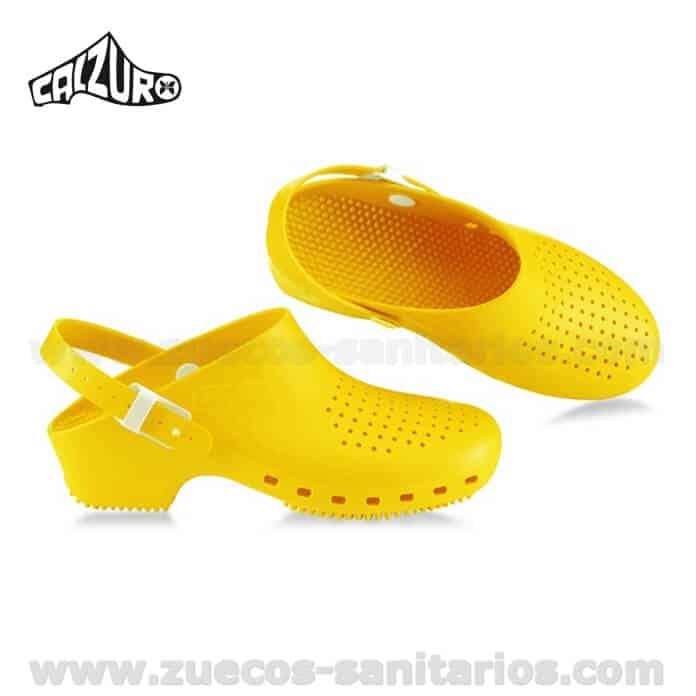 venta caliente online dabf0 bbfad Zuecos Calzuro con Tira Amarillo
