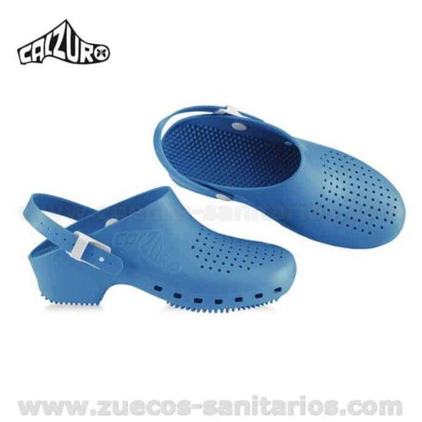 Zuecos Calzuro Azul Celeste con tiras