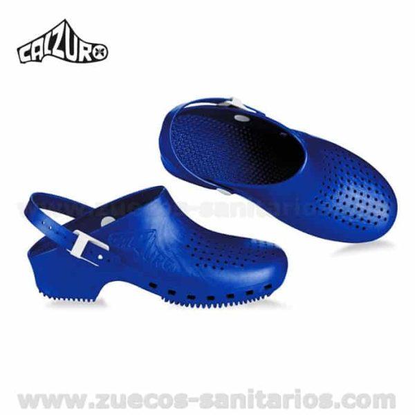 Zuecos Calzuro Azul Metalizado con tiras