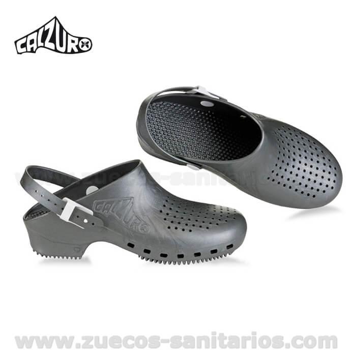 nueva productos 3fbde 4f02d Zuecos Calzuro con Tira Gris Metalizado